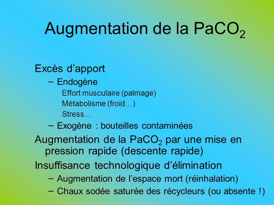 Augmentation de la PaCO2