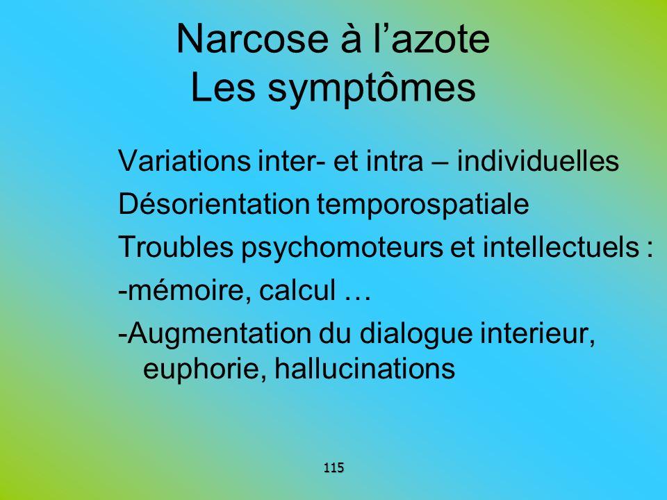 Narcose à l'azote Les symptômes
