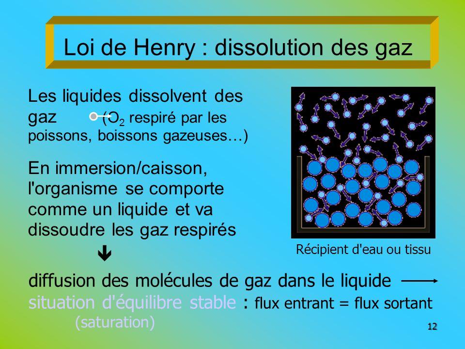 Loi de Henry : dissolution des gaz
