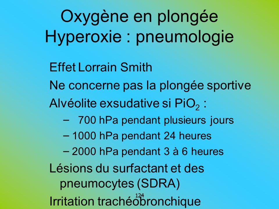 Oxygène en plongée Hyperoxie : pneumologie