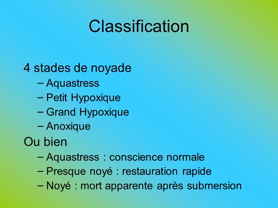 Classification 4 stades de noyade Ou bien Aquastress Petit Hypoxique