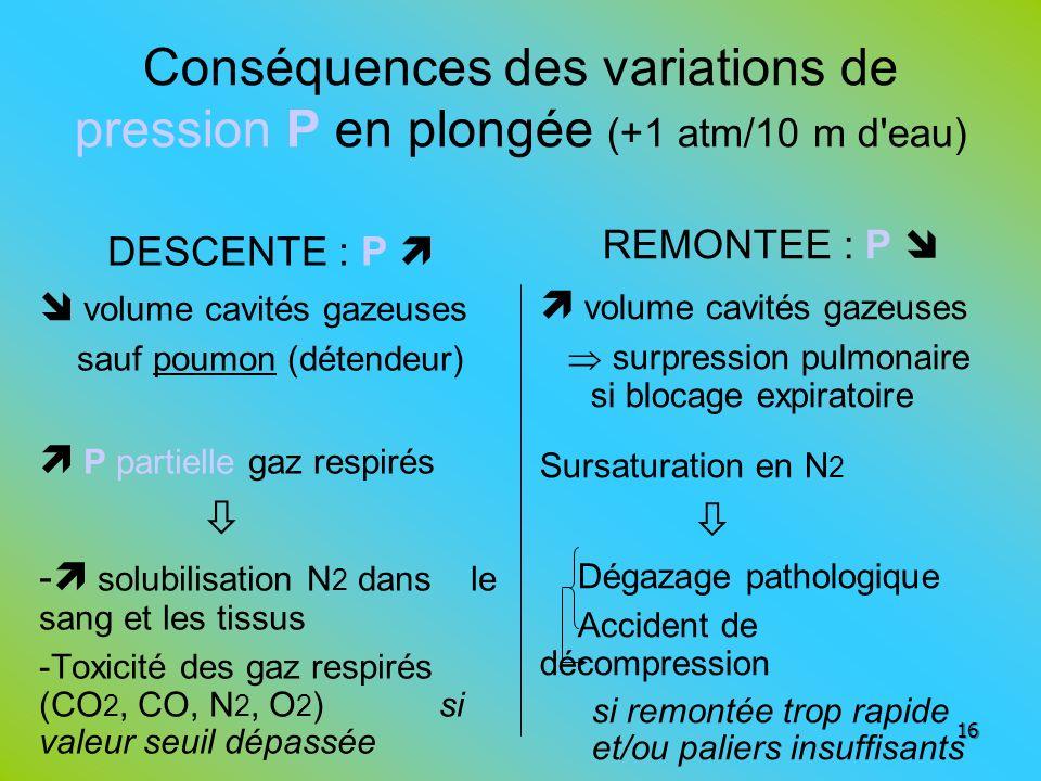 Conséquences des variations de pression P en plongée (+1 atm/10 m d eau)