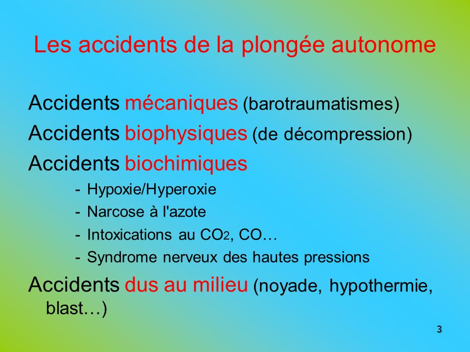 Les accidents de la plongée autonome