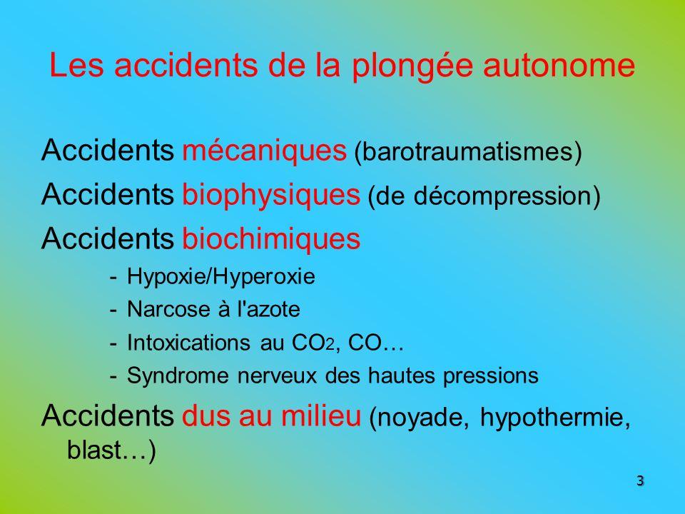 Les accidents de la plongée autonome