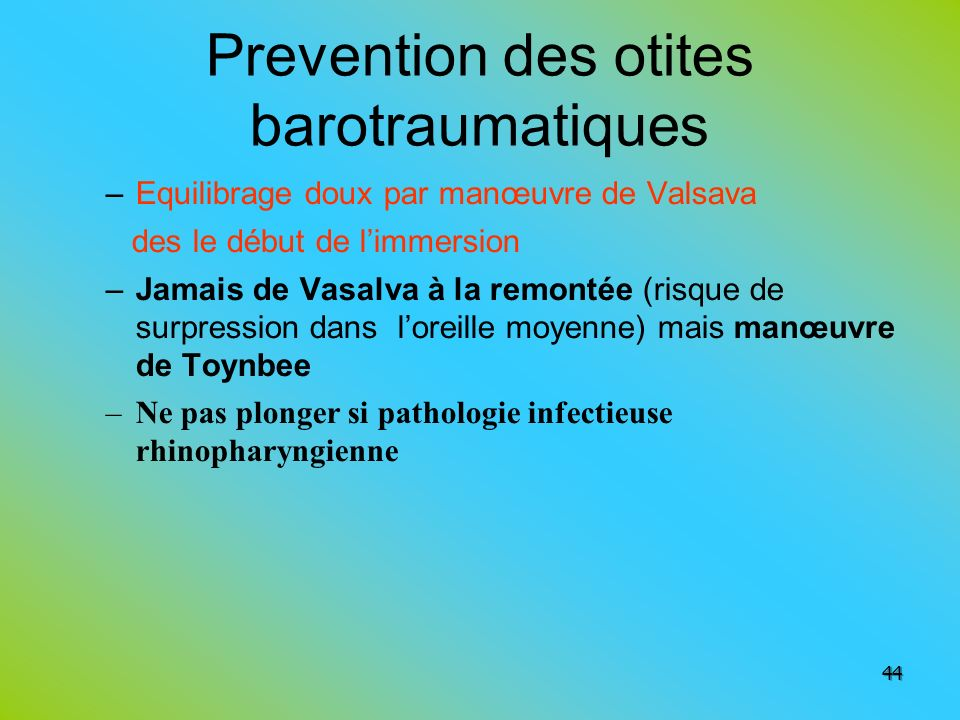Prevention des otites barotraumatiques