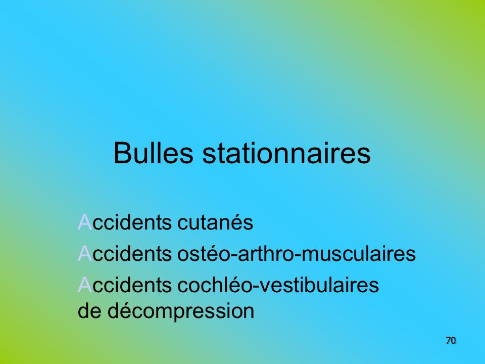 Bulles stationnaires Accidents cutanés