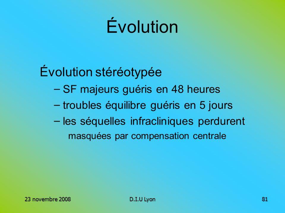 Évolution Évolution stéréotypée SF majeurs guéris en 48 heures