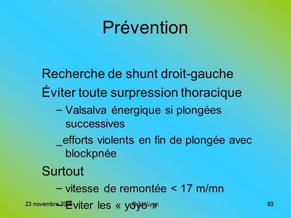 Prévention Recherche de shunt droit-gauche