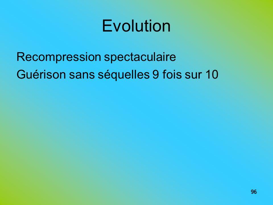 Evolution Recompression spectaculaire Guérison sans séquelles 9 fois sur 10
