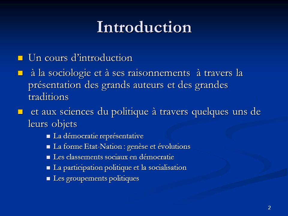 Introduction Un cours d'introduction
