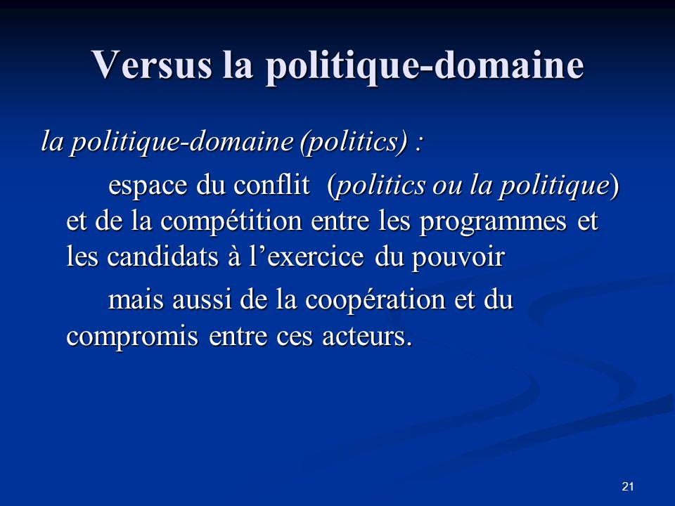 Versus la politique-domaine