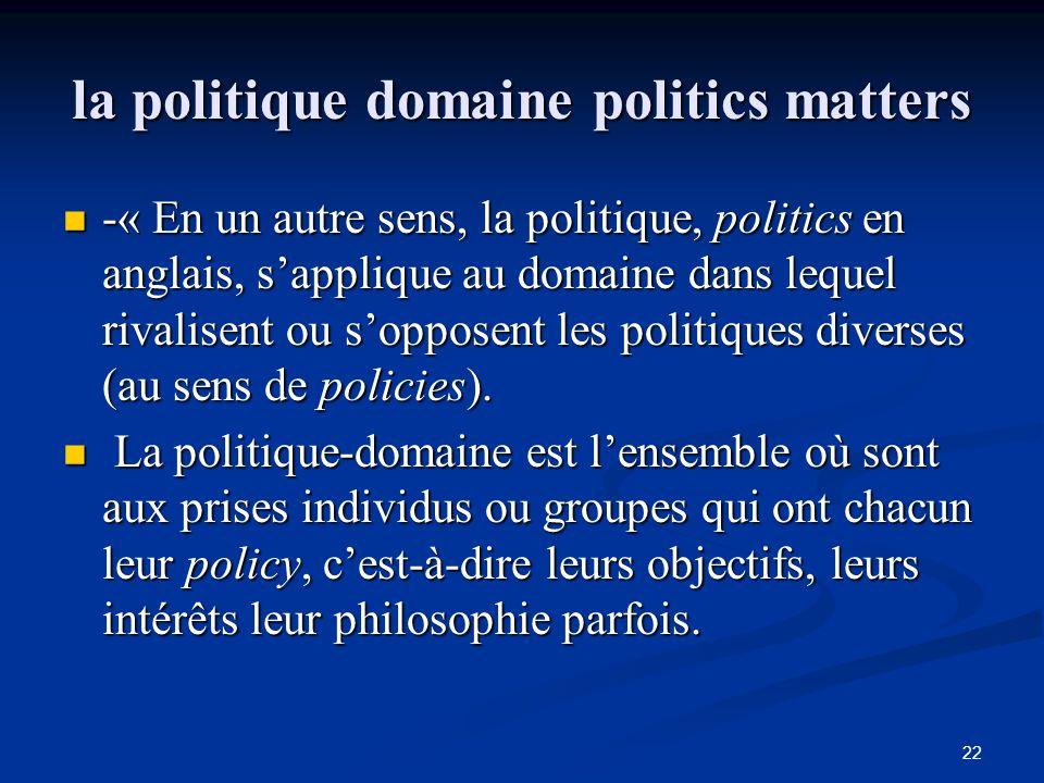 la politique domaine politics matters