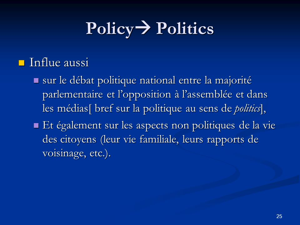 Policy Politics Influe aussi