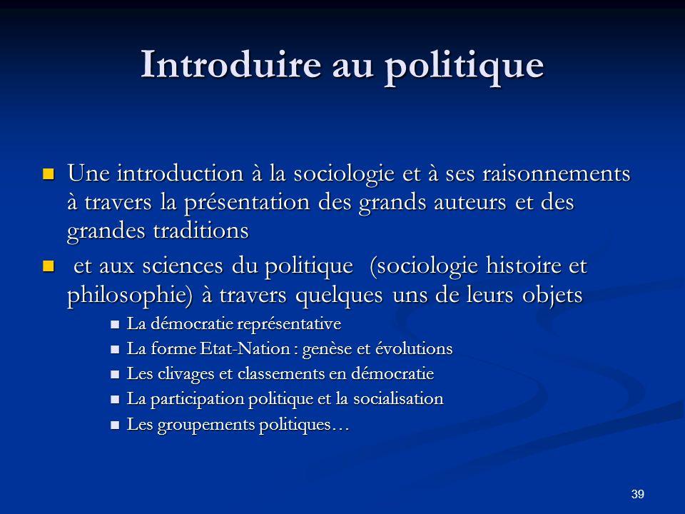 Introduire au politique