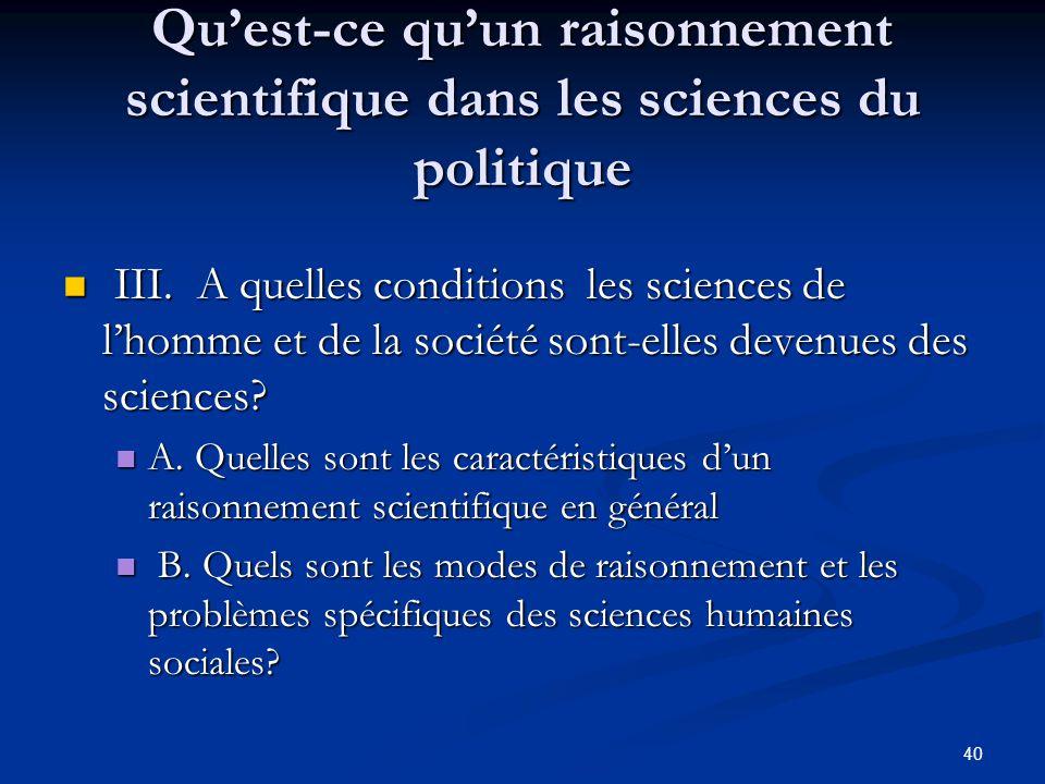 Qu'est-ce qu'un raisonnement scientifique dans les sciences du politique