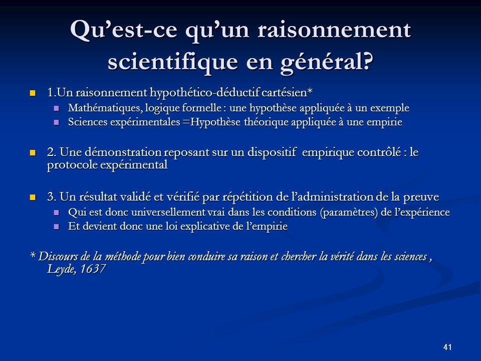 Qu'est-ce qu'un raisonnement scientifique en général