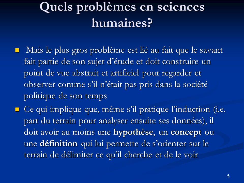 Quels problèmes en sciences humaines