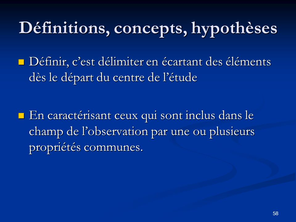 Définitions, concepts, hypothèses
