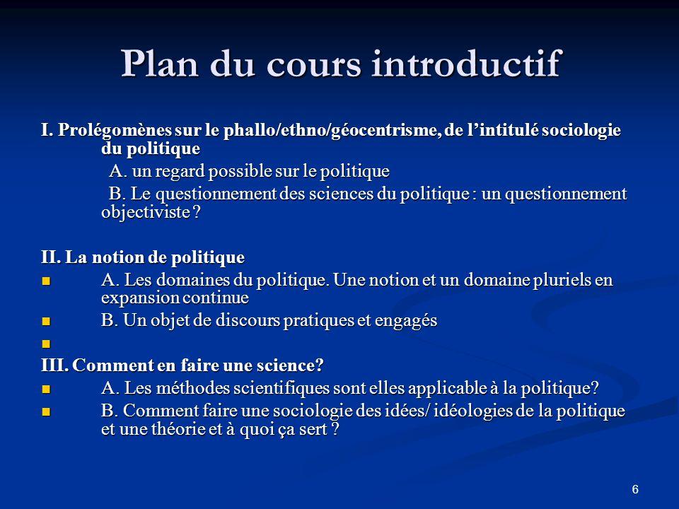 Plan du cours introductif