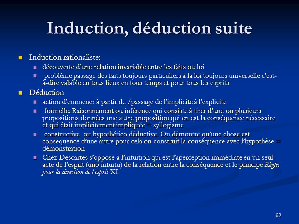 Induction, déduction suite