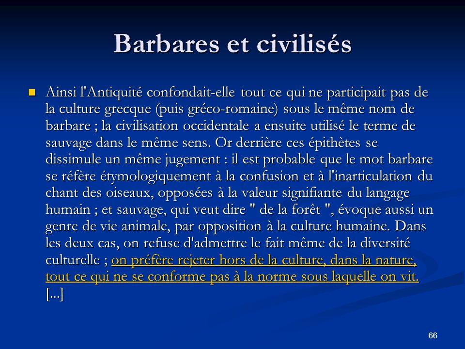 Barbares et civilisés