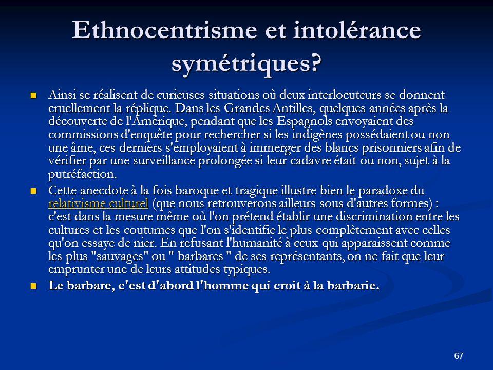 Ethnocentrisme et intolérance symétriques