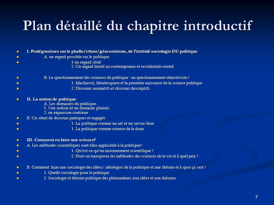 Plan détaillé du chapitre introductif