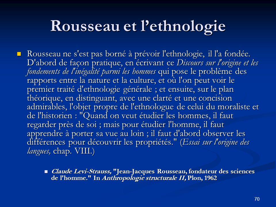 Rousseau et l'ethnologie