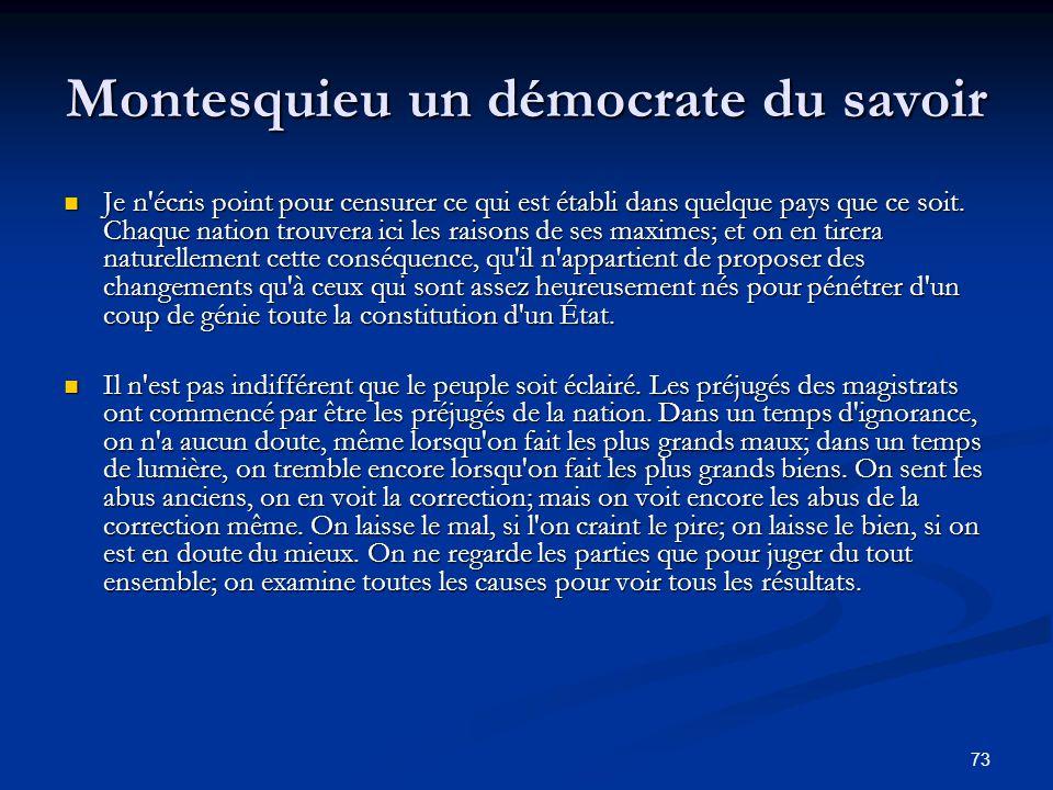 Montesquieu un démocrate du savoir