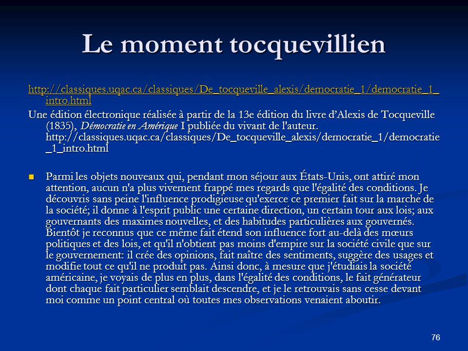 Le moment tocquevillien