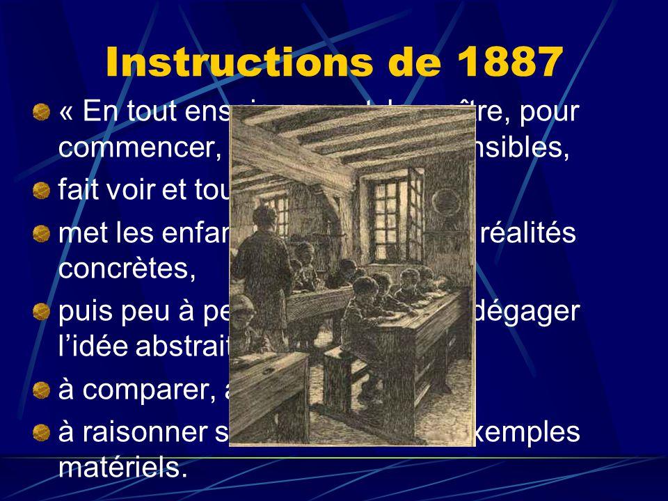 Instructions de 1887 « En tout enseignement, le maître, pour commencer, se sert d'objets sensibles,