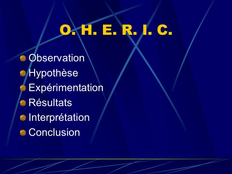 O. H. E. R. I. C. Observation Hypothèse Expérimentation Résultats