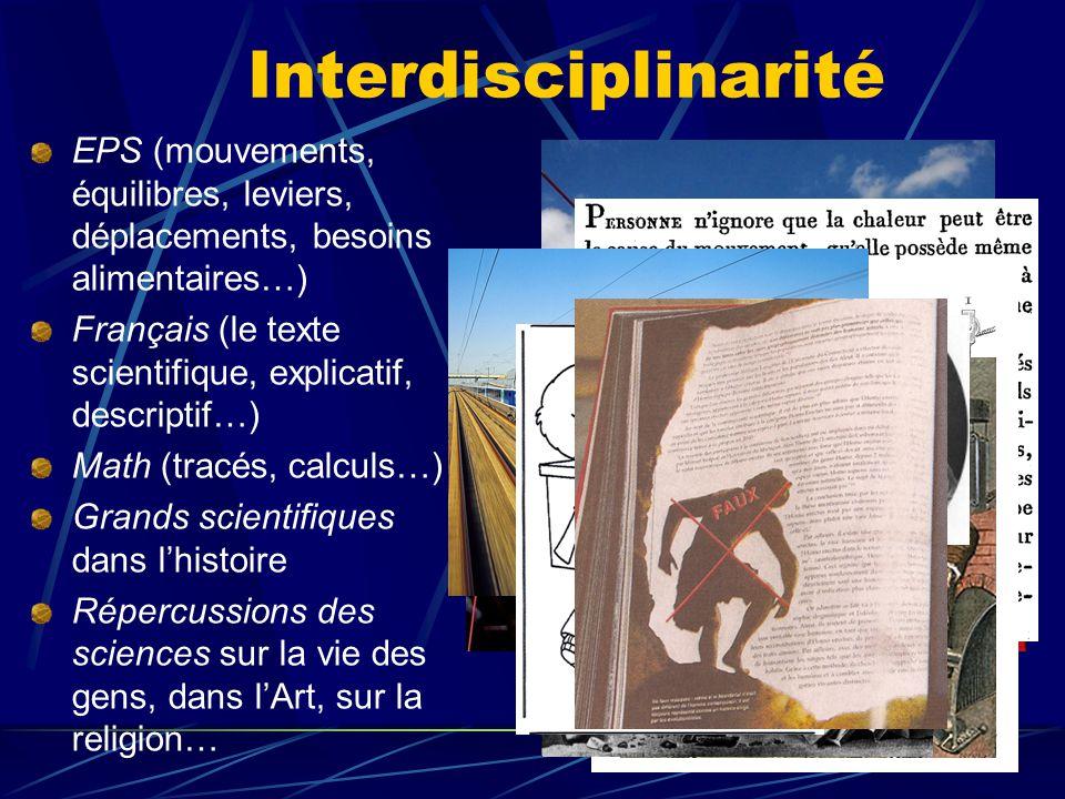 Interdisciplinarité EPS (mouvements, équilibres, leviers, déplacements, besoins alimentaires…)