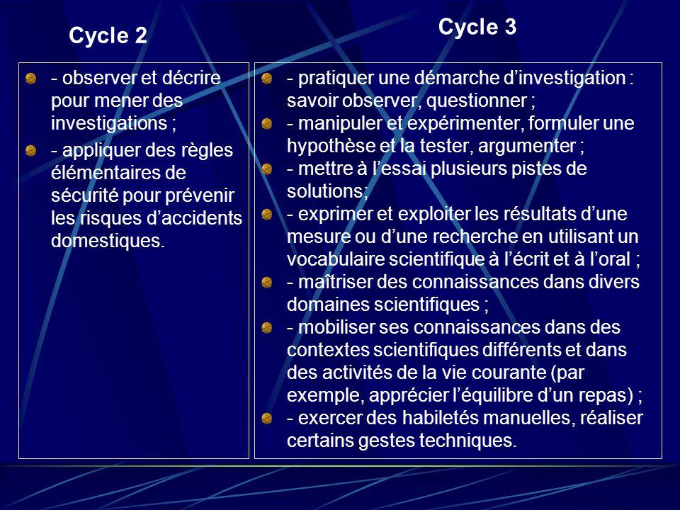 Cycle 3 Cycle 2 - observer et décrire pour mener des investigations ;