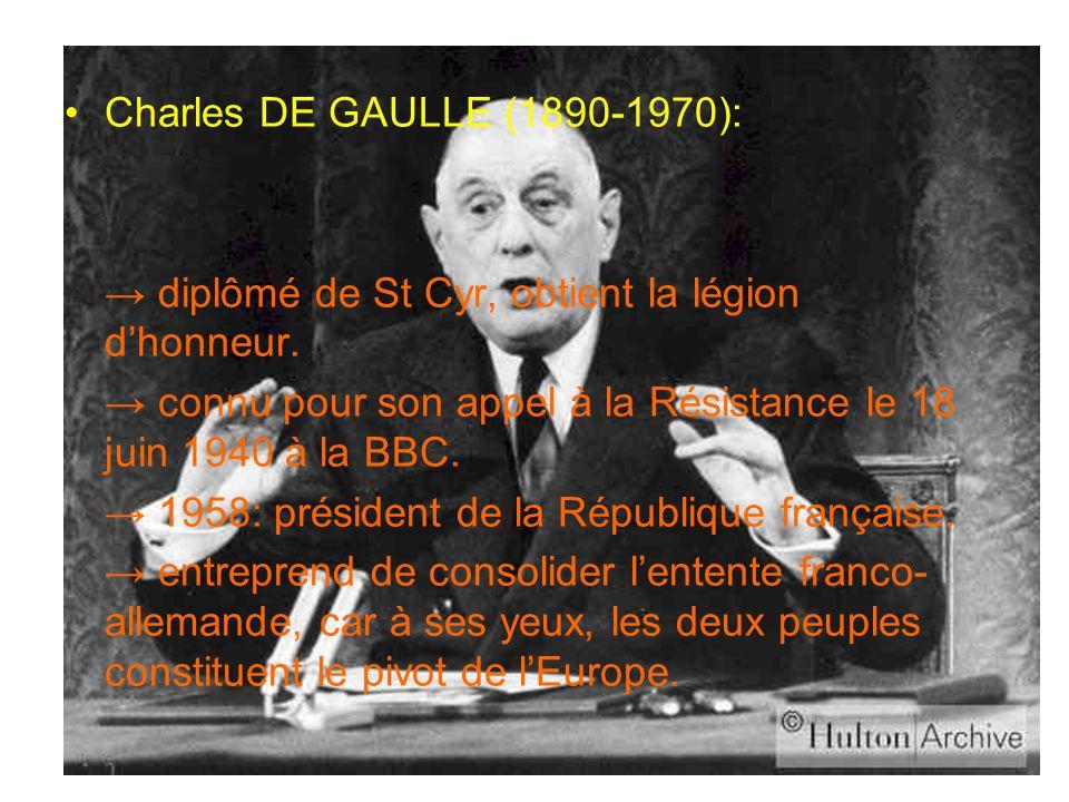 Charles DE GAULLE (1890-1970): → diplômé de St Cyr, obtient la légion d'honneur. → connu pour son appel à la Résistance le 18 juin 1940 à la BBC.