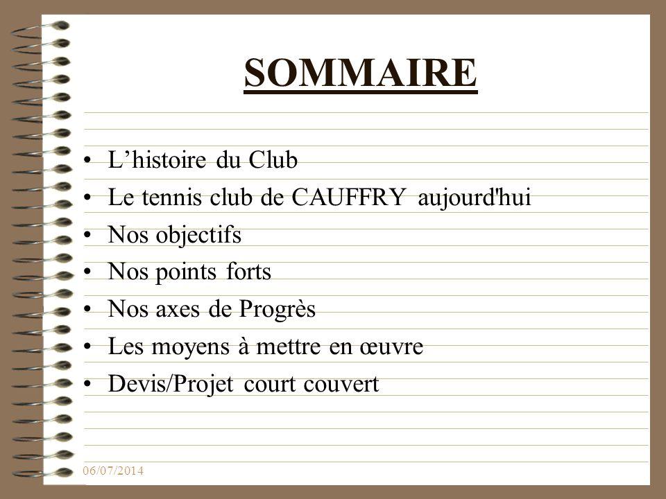 SOMMAIRE L'histoire du Club Le tennis club de CAUFFRY aujourd hui