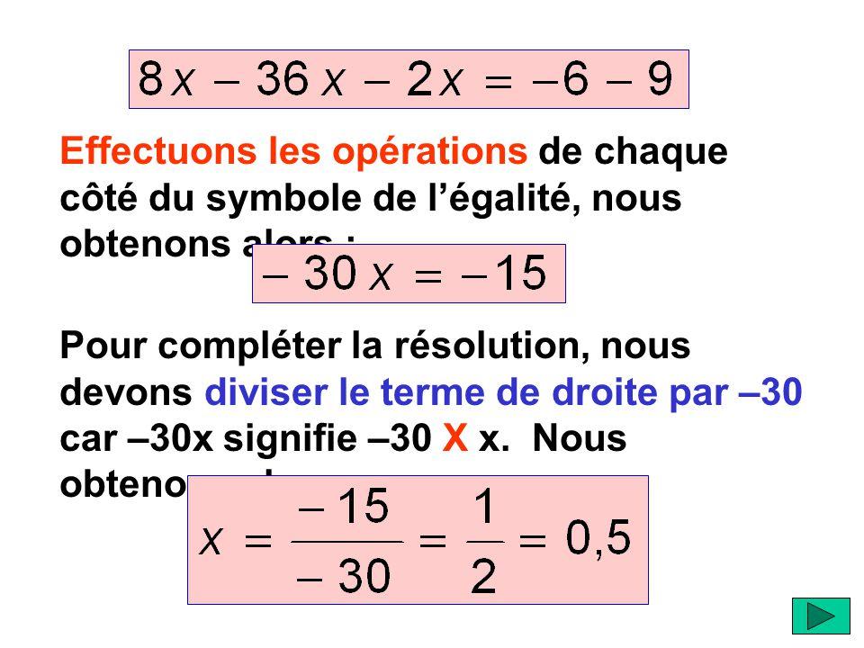 Effectuons les opérations de chaque côté du symbole de l'égalité, nous obtenons alors :