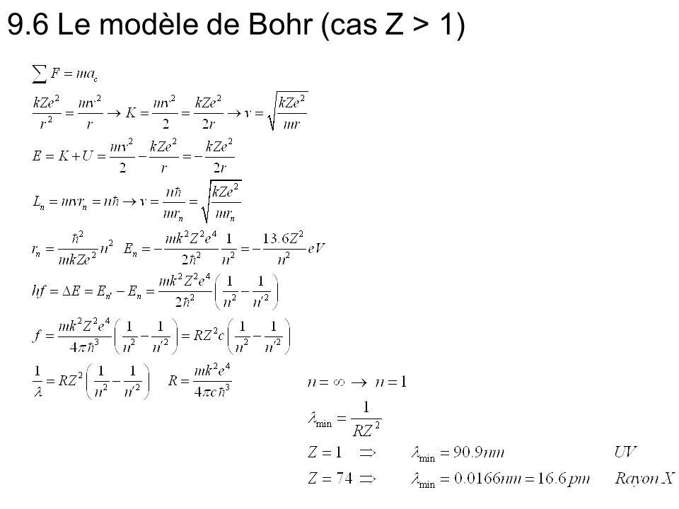 9.6 Le modèle de Bohr (cas Z > 1)