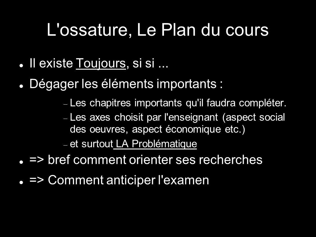 L ossature, Le Plan du cours