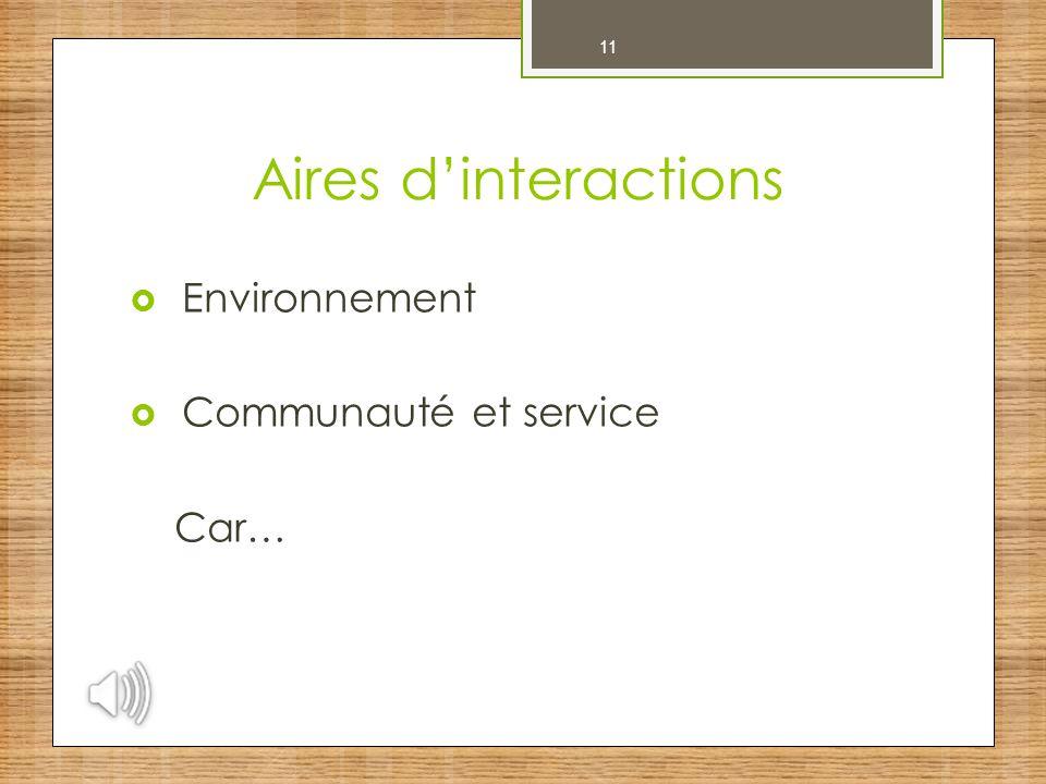 Aires d'interactions 11 Environnement Communauté et service Car…