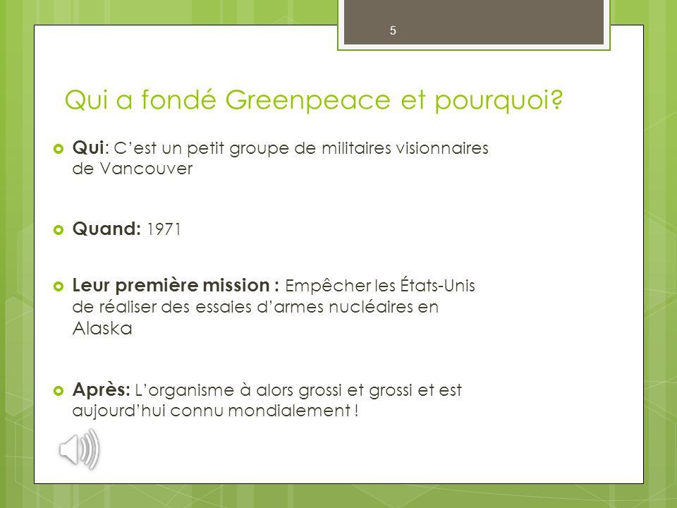 Qui a fondé Greenpeace et pourquoi