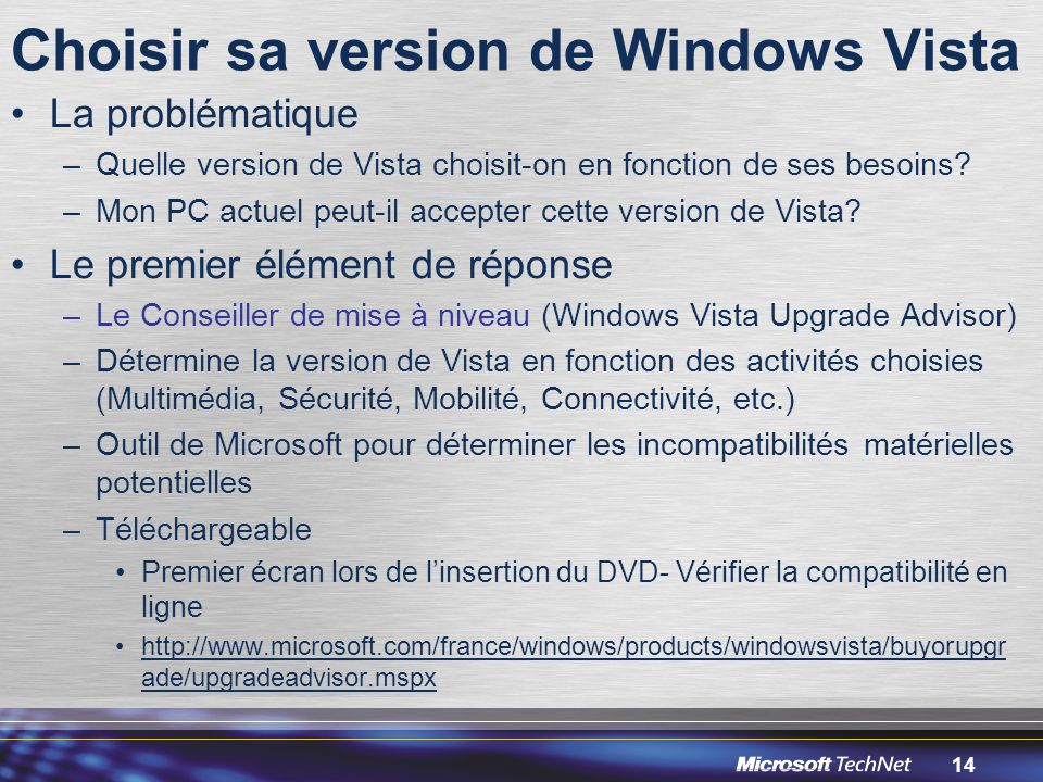 Choisir sa version de Windows Vista