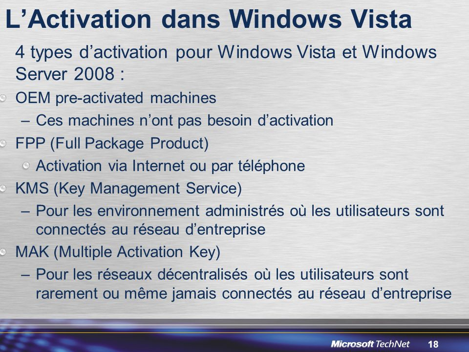 L'Activation dans Windows Vista