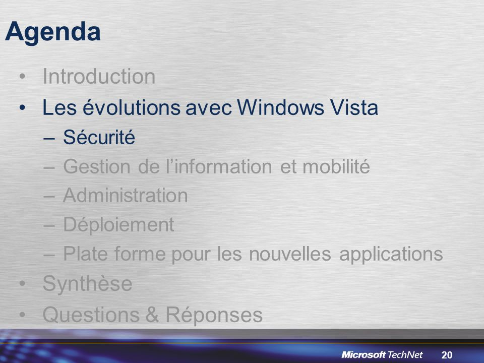 Agenda Introduction Les évolutions avec Windows Vista Synthèse