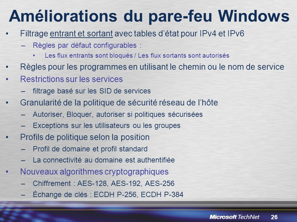 Améliorations du pare-feu Windows