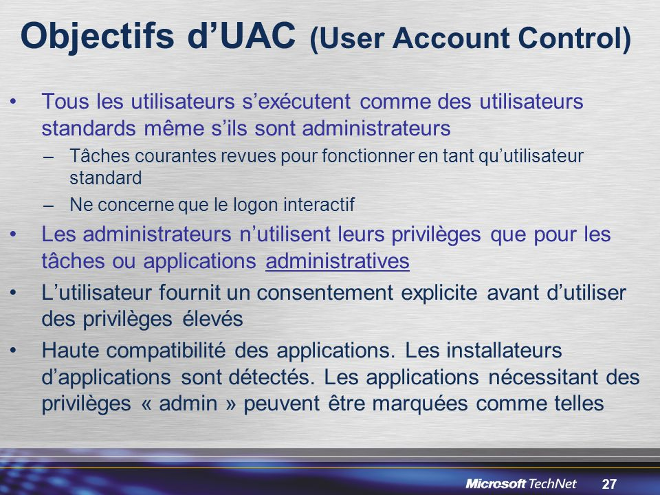 Objectifs d'UAC (User Account Control)
