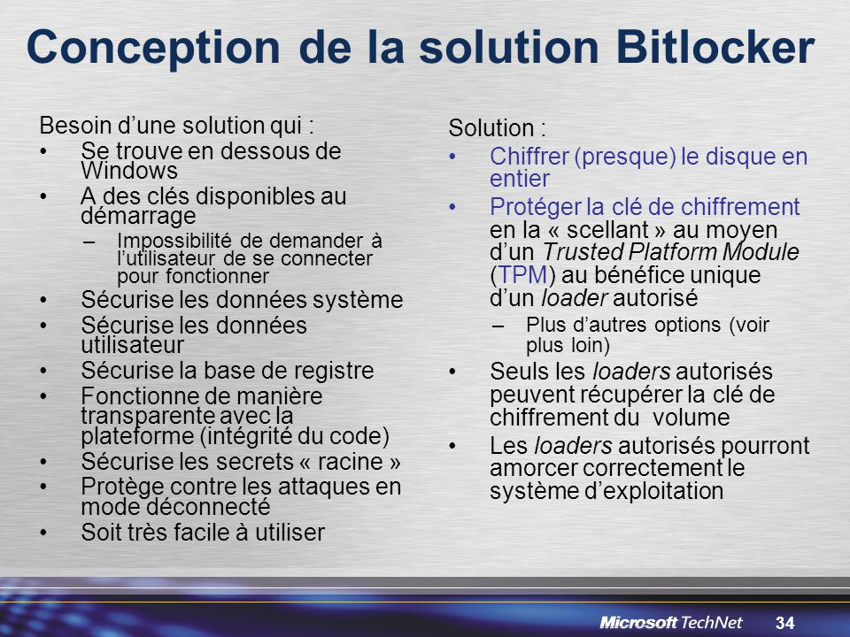 Conception de la solution Bitlocker