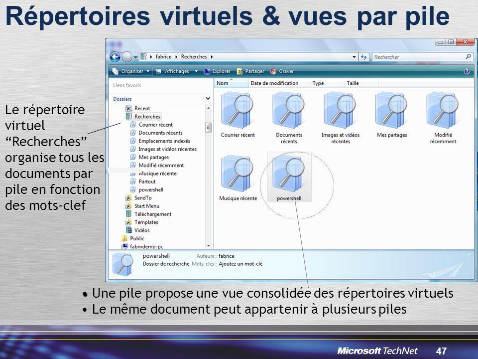 Répertoires virtuels & vues par pile