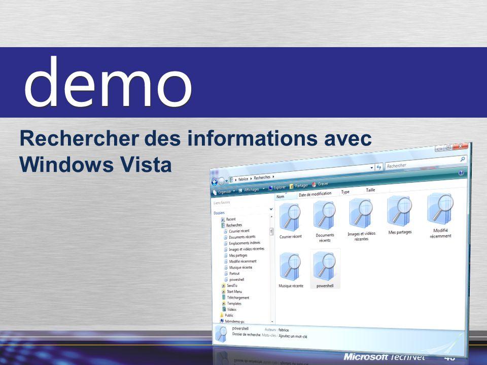 Rechercher des informations avec Windows Vista