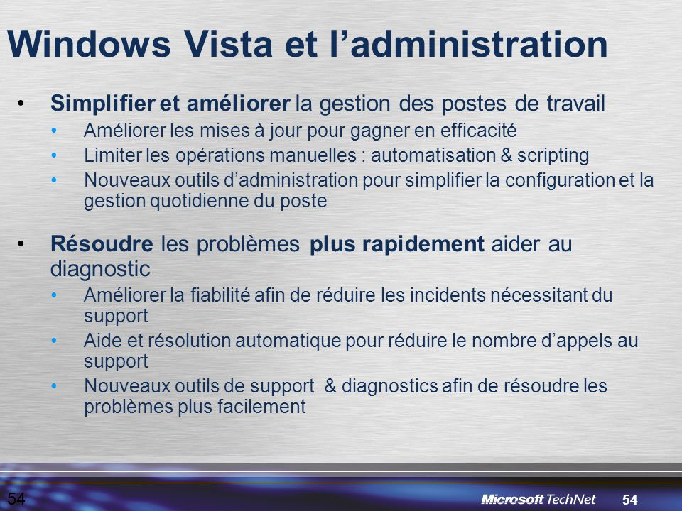 Windows Vista et l'administration